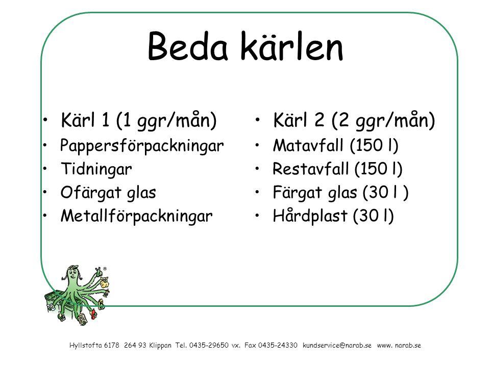 Beda kärlen Kärl 1 (1 ggr/mån) Kärl 2 (2 ggr/mån) Pappersförpackningar