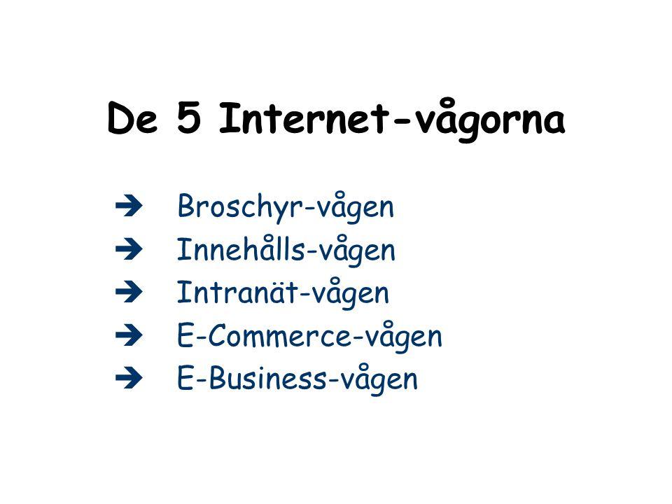 De 5 Internet-vågorna Broschyr-vågen Innehålls-vågen Intranät-vågen