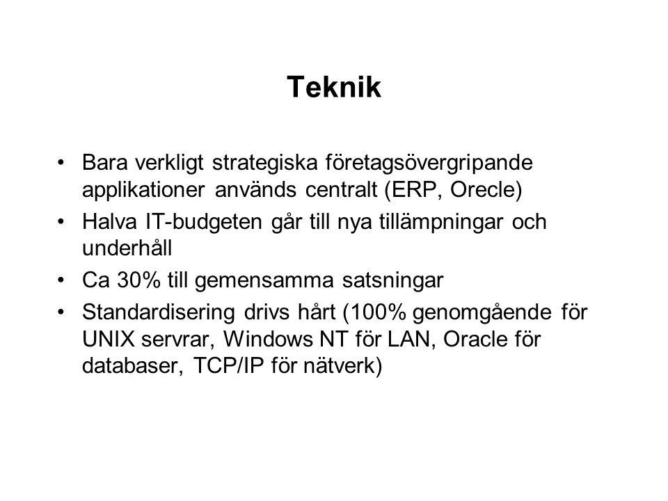 Teknik Bara verkligt strategiska företagsövergripande applikationer används centralt (ERP, Orecle)