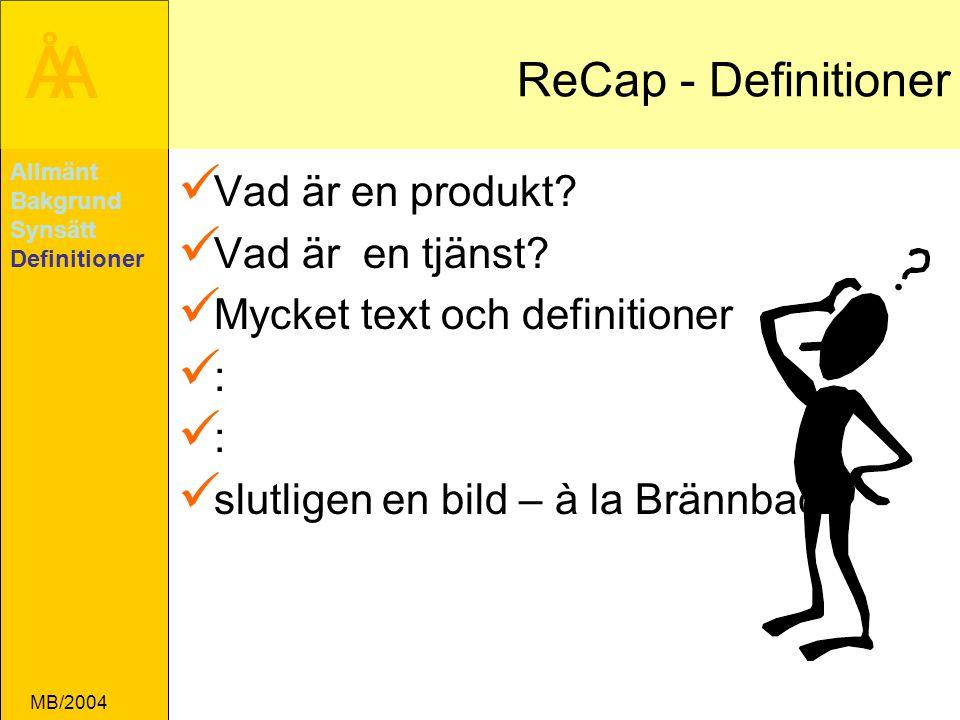 ReCap - Definitioner Vad är en produkt Vad är en tjänst