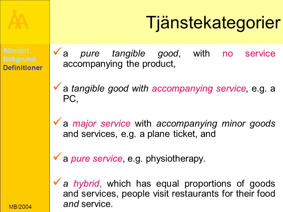 Tjänstekategorier Allmänt. Bakgrund. Definitioner. a pure tangible good, with no service accompanying the product,