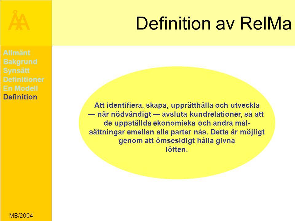 Definition av RelMa Allmänt Bakgrund Synsätt Definitioner En Modell