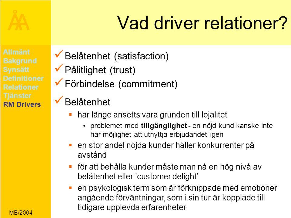 Vad driver relationer Belåtenhet (satisfaction) Pålitlighet (trust)