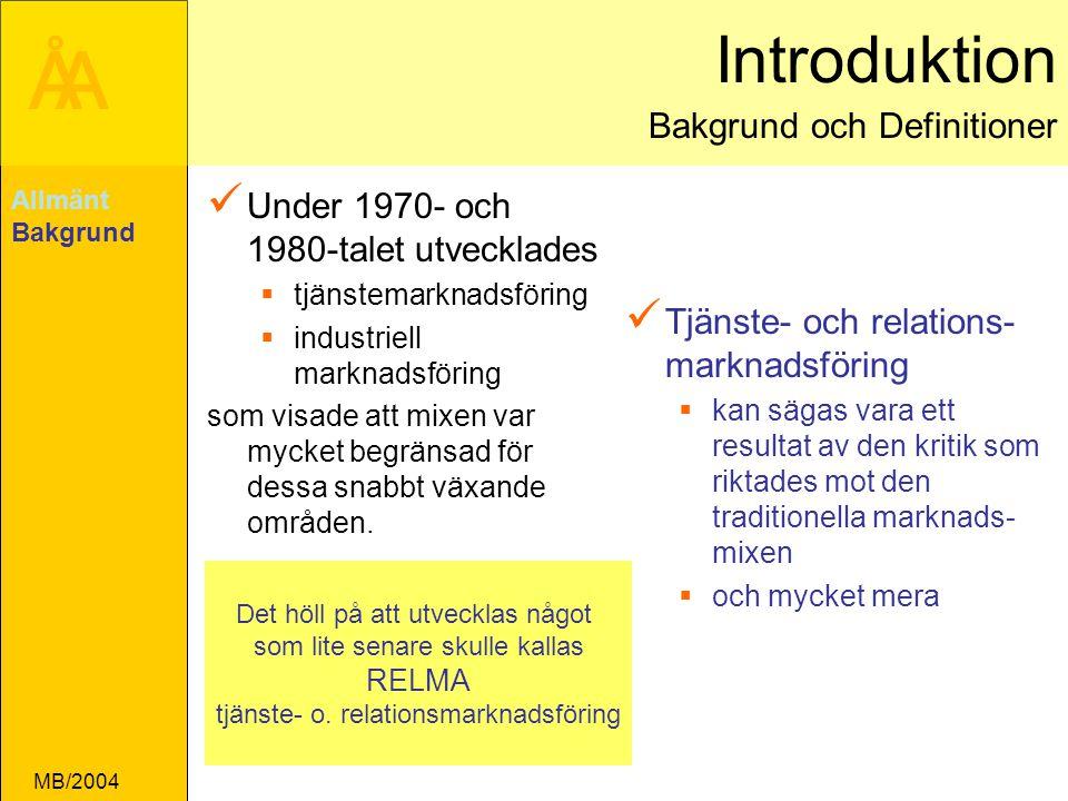 Introduktion Bakgrund och Definitioner