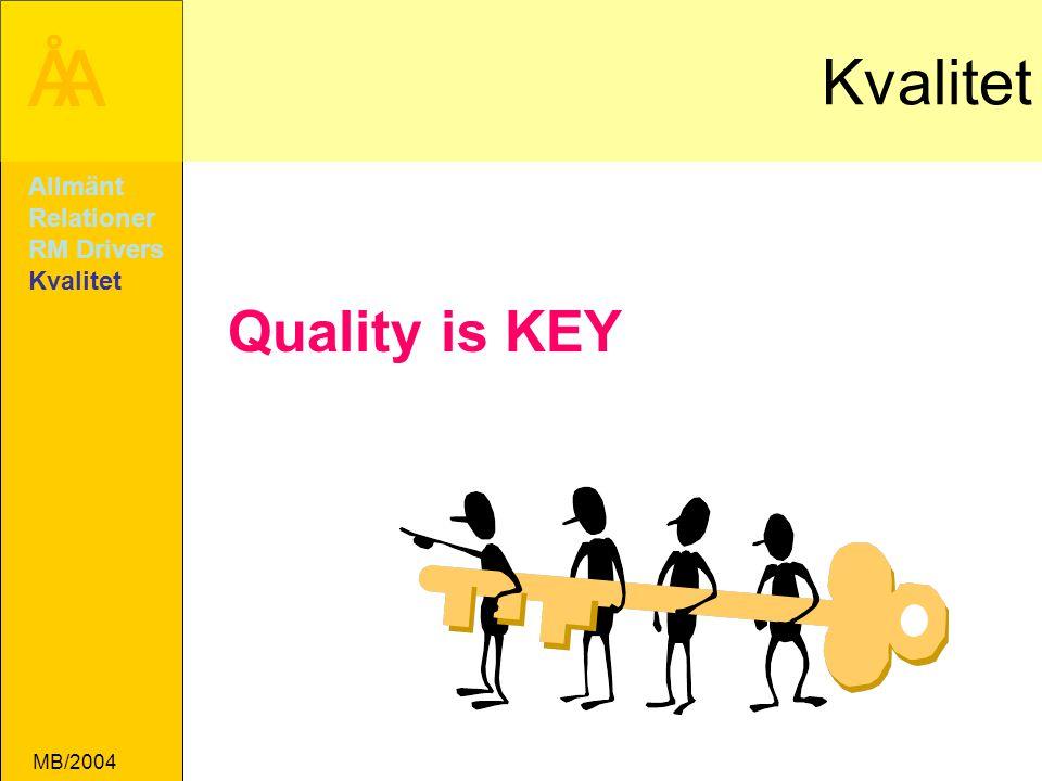 Kvalitet Allmänt Relationer RM Drivers Kvalitet Quality is KEY MB/2004