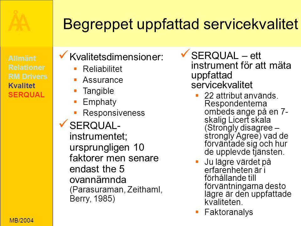 Begreppet uppfattad servicekvalitet