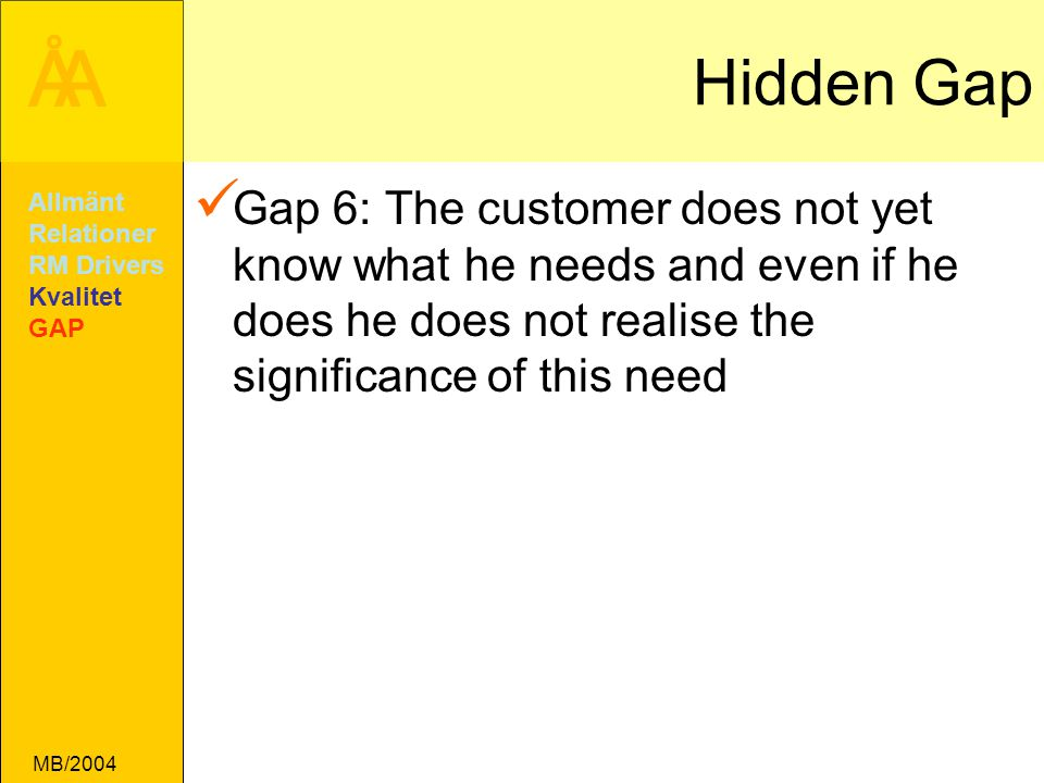 Hidden Gap Gap 6: The customer does not yet know what he needs and even if he does he does not realise the significance of this need.