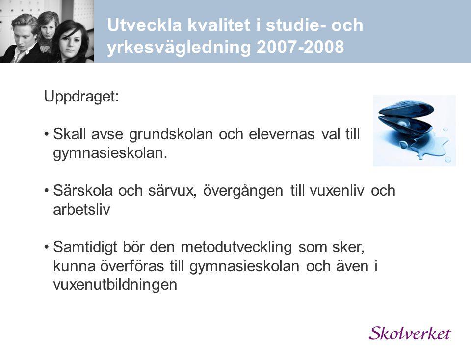 Utveckla kvalitet i studie- och yrkesvägledning 2007-2008