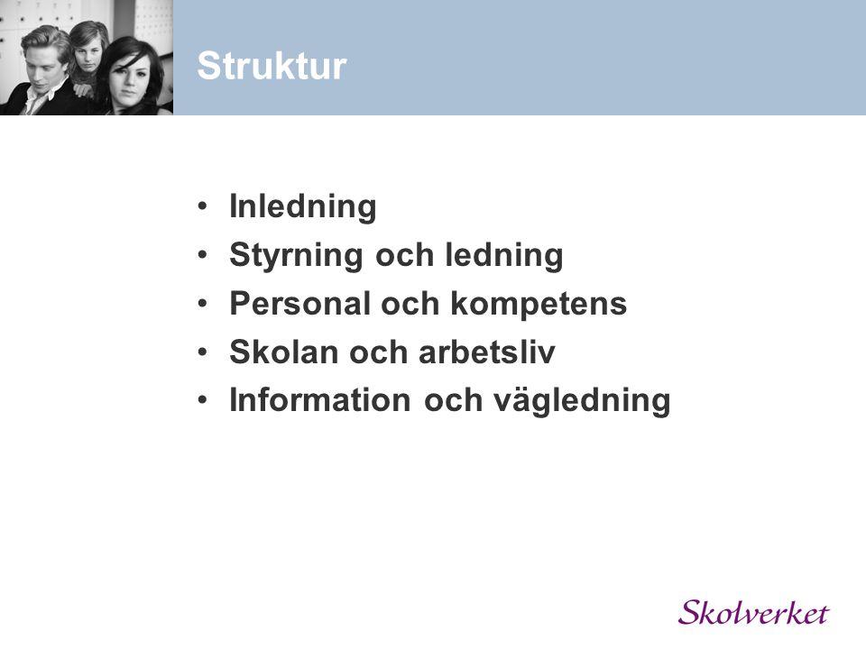 Struktur Inledning Styrning och ledning Personal och kompetens