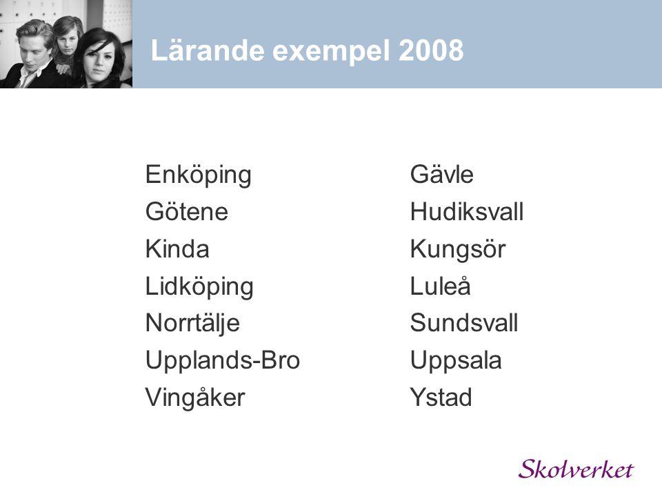 Lärande exempel 2008 Enköping Gävle Götene Hudiksvall Kinda Kungsör