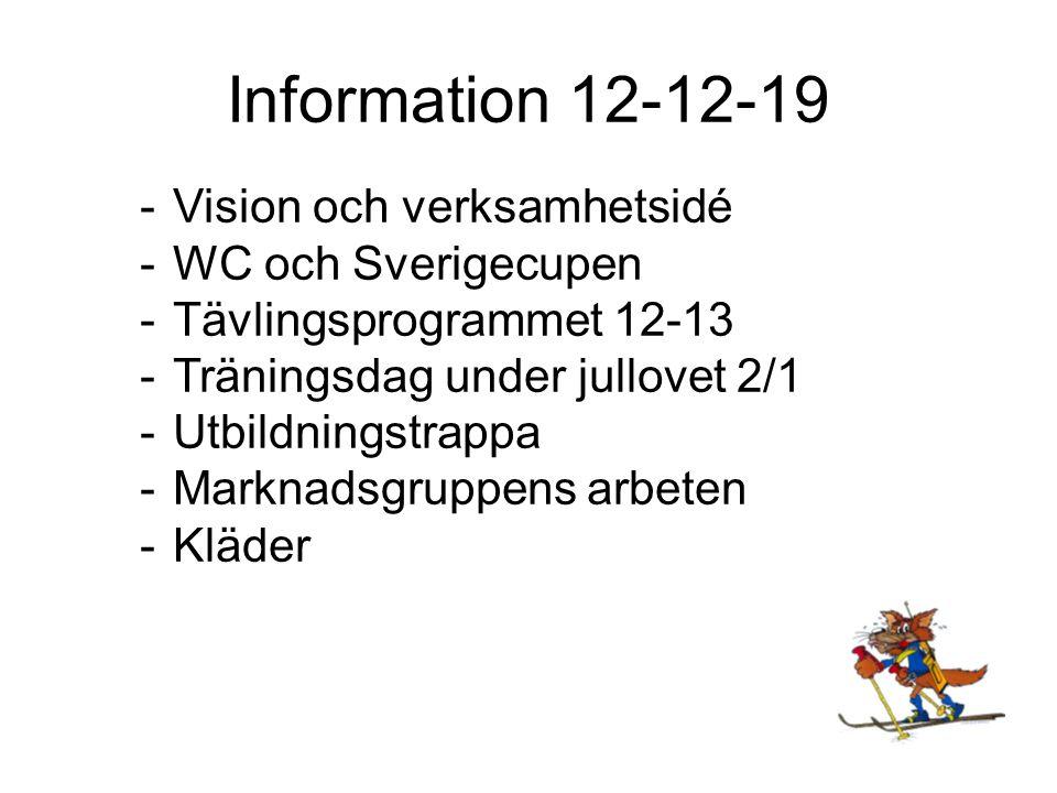 Information 12-12-19 Vision och verksamhetsidé WC och Sverigecupen