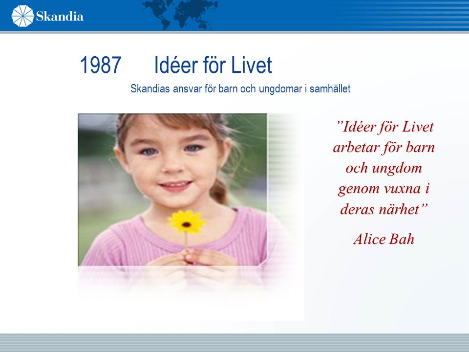 1987 Idéer för Livet Skandias ansvar för barn och ungdomar i samhället.