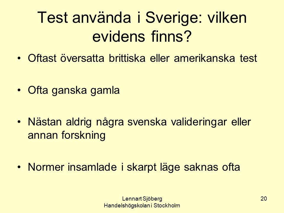 Test använda i Sverige: vilken evidens finns
