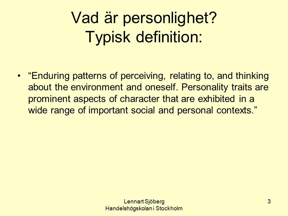 Vad är personlighet Typisk definition: