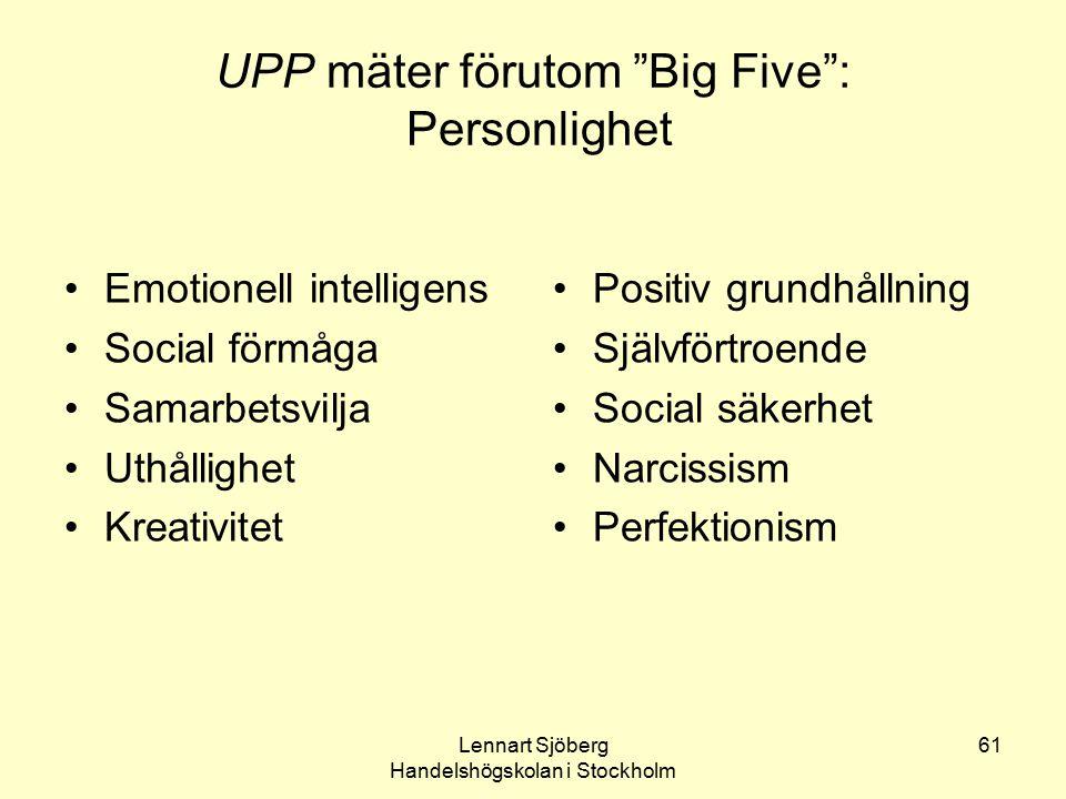 UPP mäter förutom Big Five : Personlighet