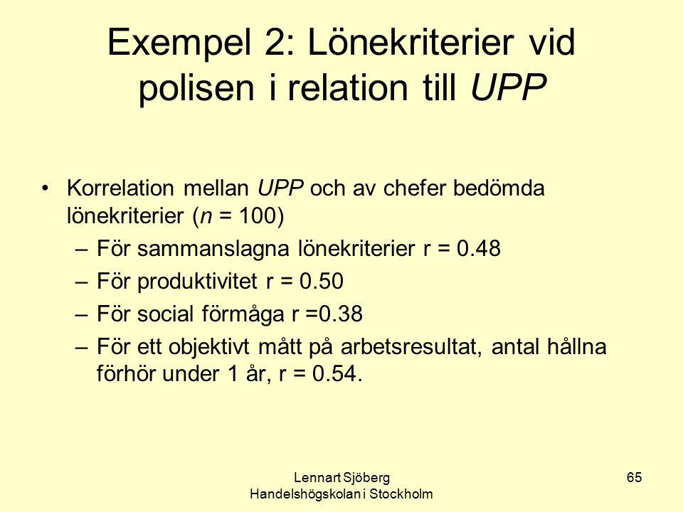 Exempel 2: Lönekriterier vid polisen i relation till UPP