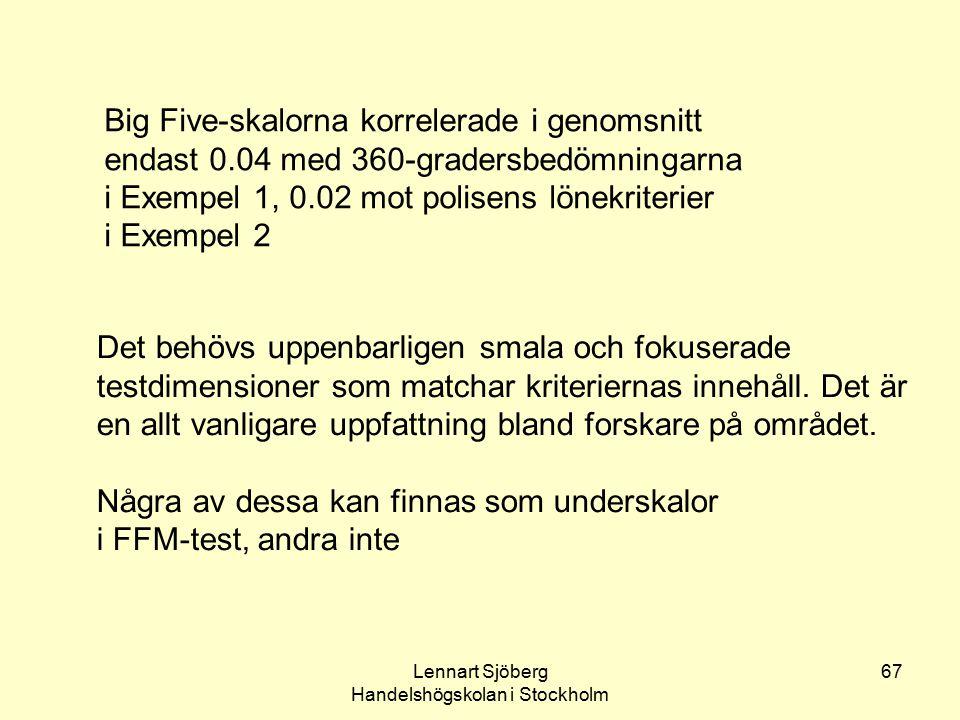 Lennart Sjöberg Handelshögskolan i Stockholm
