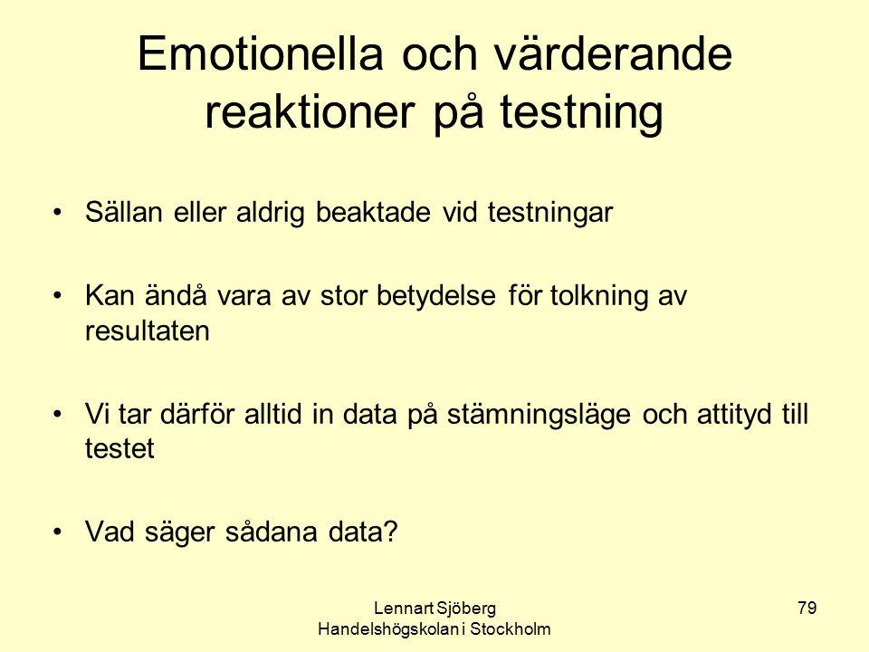 Emotionella och värderande reaktioner på testning