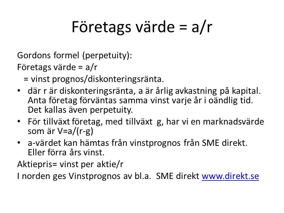 Företags värde = a/r Gordons formel (perpetuity): Företags värde = a/r