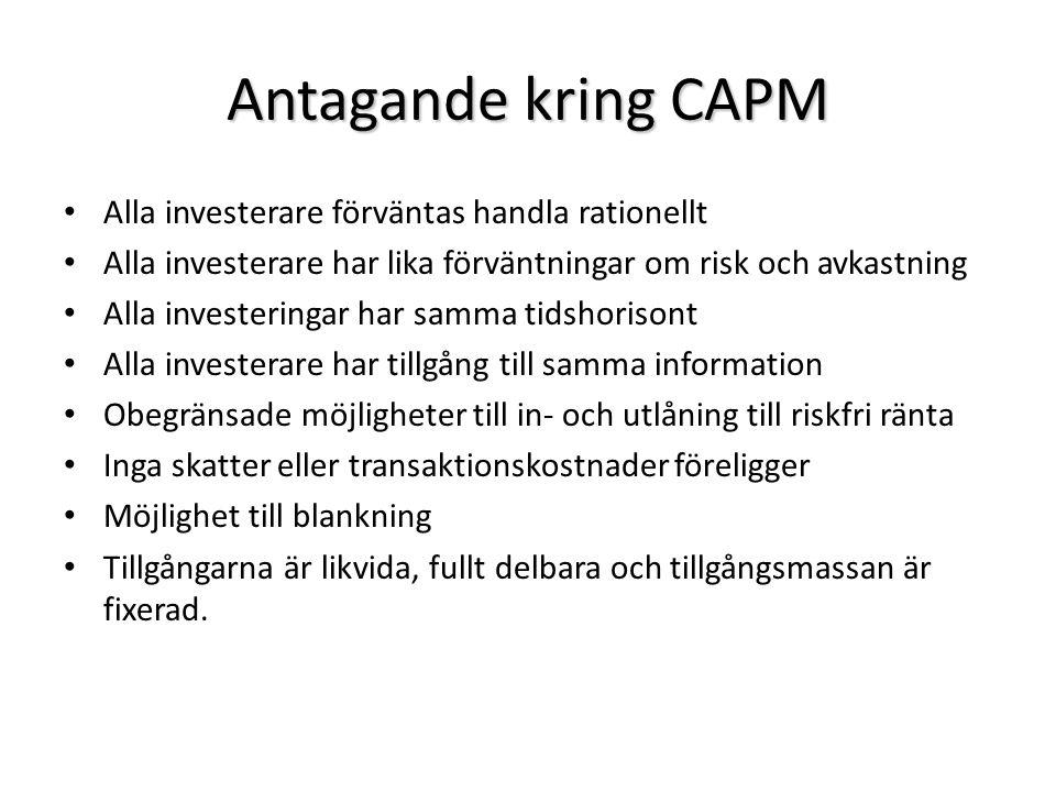 Antagande kring CAPM Alla investerare förväntas handla rationellt