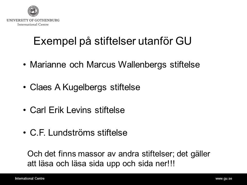 Exempel på stiftelser utanför GU
