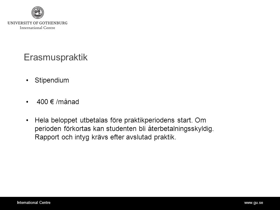 Erasmuspraktik Stipendium 400 € /månad