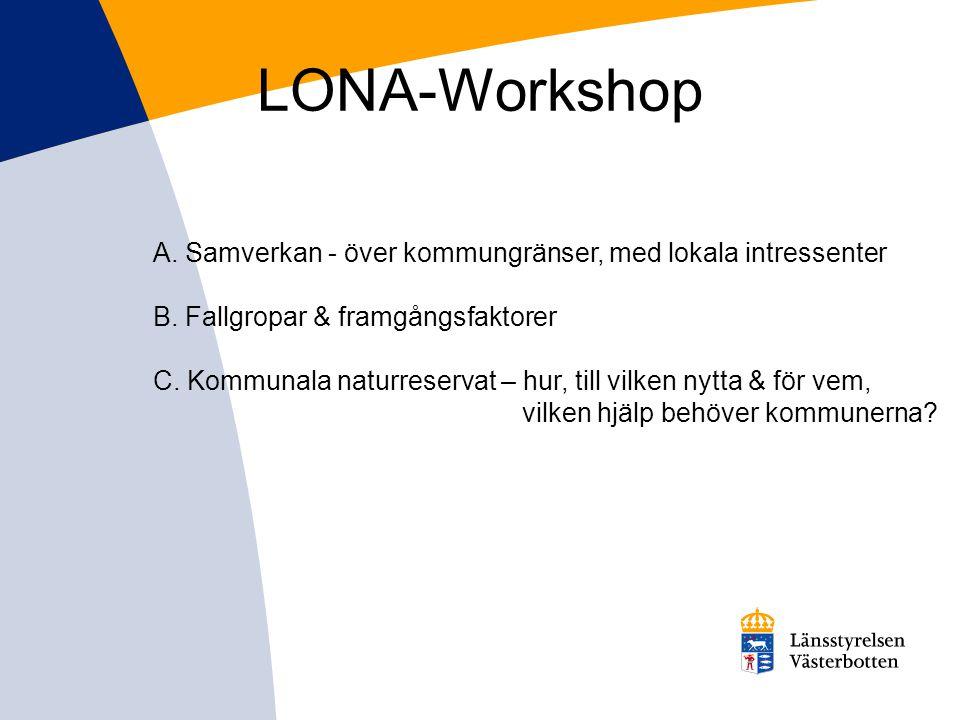 LONA-Workshop A. Samverkan - över kommungränser, med lokala intressenter. B. Fallgropar & framgångsfaktorer.