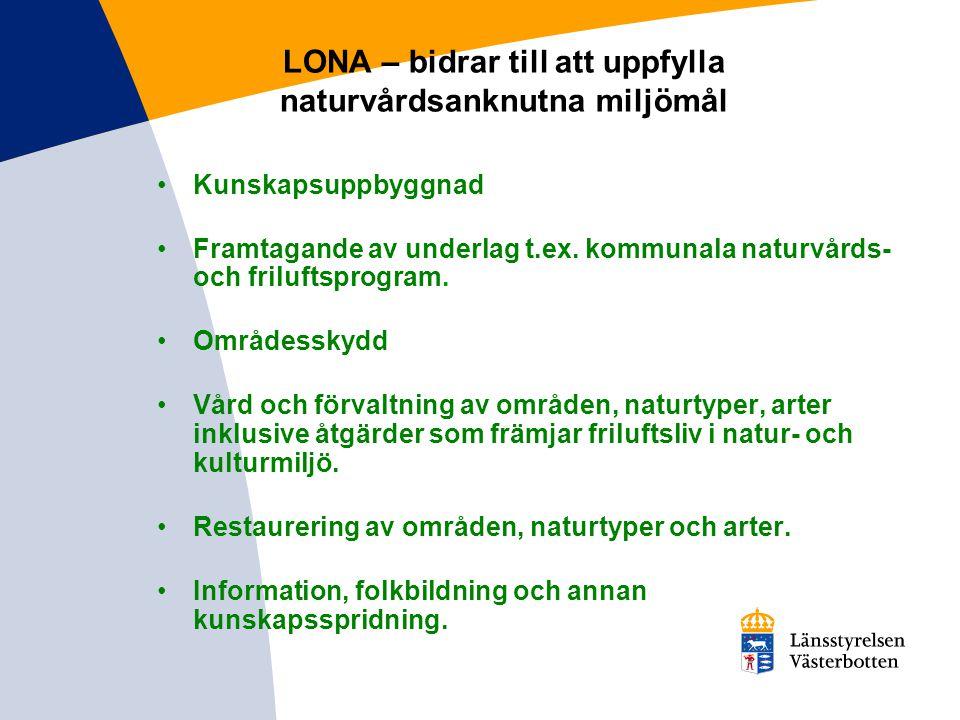 LONA – bidrar till att uppfylla naturvårdsanknutna miljömål