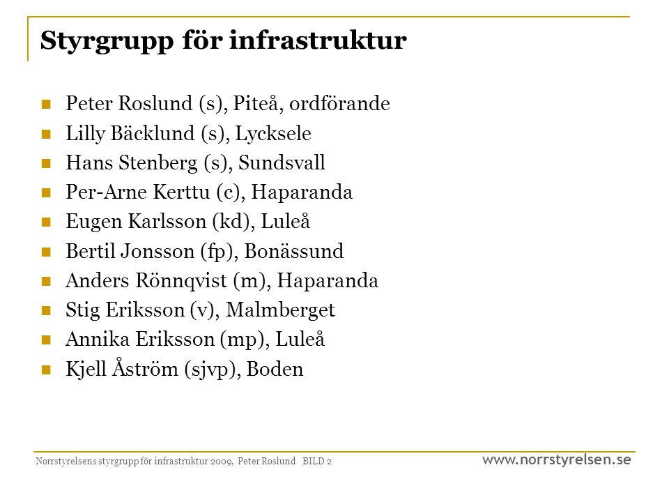 Styrgrupp för infrastruktur