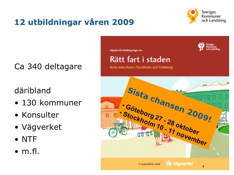 12 utbildningar våren 2009 Ca 340 deltagare däribland 130 kommuner