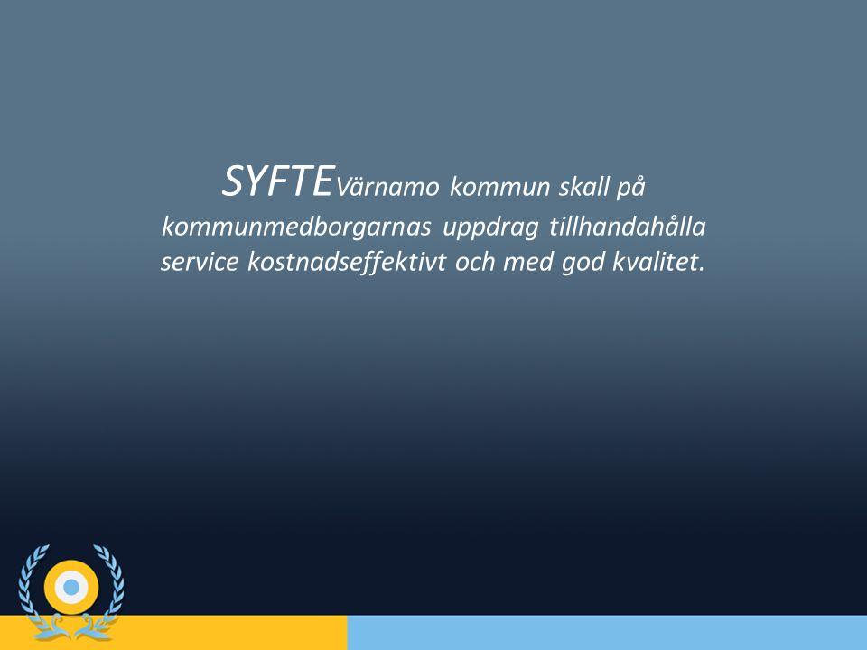 SYFTEVärnamo kommun skall på kommunmedborgarnas uppdrag tillhandahålla service kostnadseffektivt och med god kvalitet.