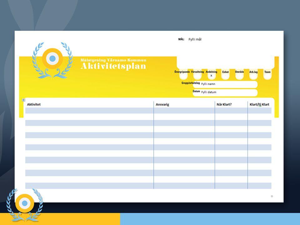 Det här är en aktivitetsplan som är till för att hålla reda på vilka aktiviteter arbetslaget gör för att nå respektive mål.