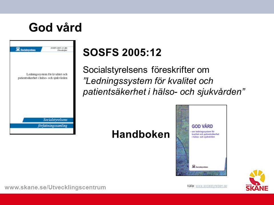 God vård SOSFS 2005:12 Socialstyrelsens föreskrifter om Ledningssystem för kvalitet och patientsäkerhet i hälso- och sjukvården
