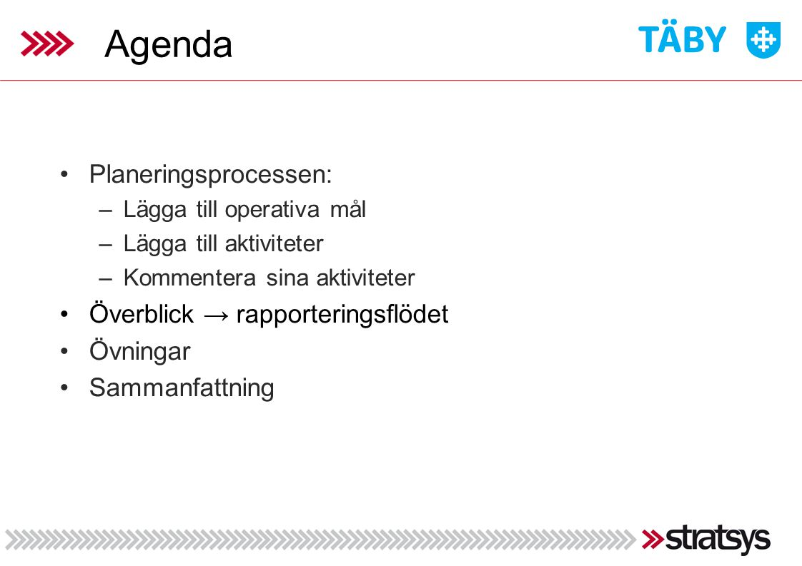 Agenda Planeringsprocessen: Överblick → rapporteringsflödet Övningar