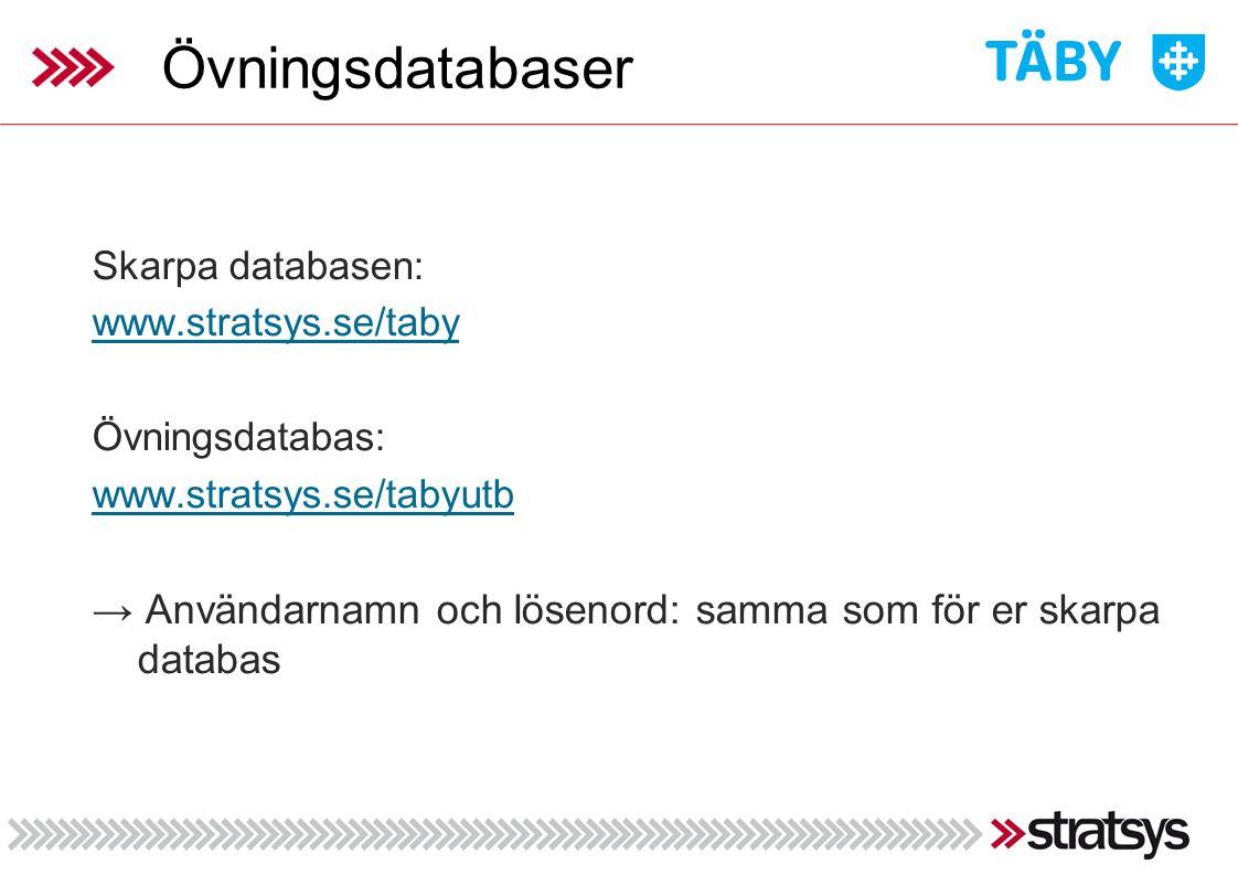 Övningsdatabaser Skarpa databasen: www.stratsys.se/taby. Övningsdatabas: www.stratsys.se/tabyutb.