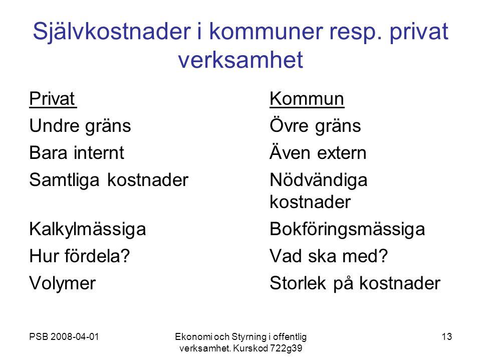 Självkostnader i kommuner resp. privat verksamhet