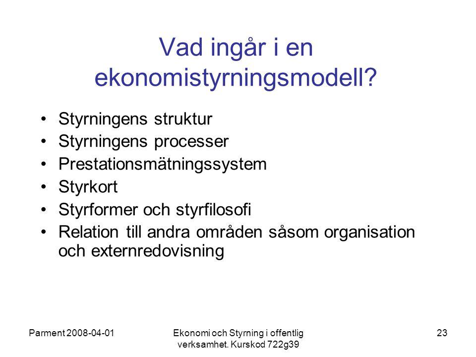 Vad ingår i en ekonomistyrningsmodell