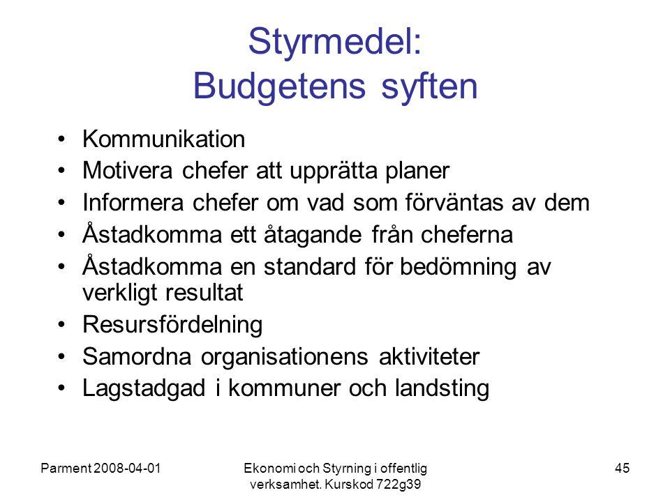 Styrmedel: Budgetens syften