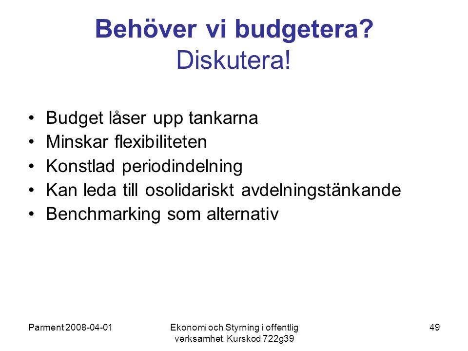 Behöver vi budgetera Diskutera!