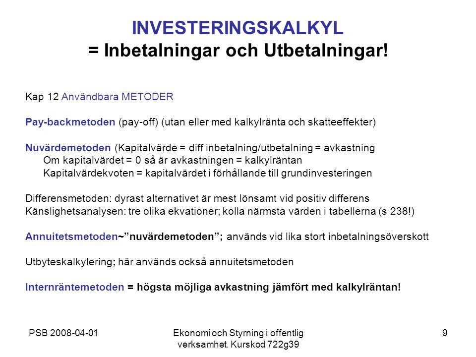 INVESTERINGSKALKYL = Inbetalningar och Utbetalningar!