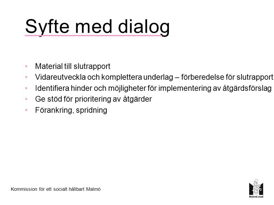 Syfte med dialog Material till slutrapport