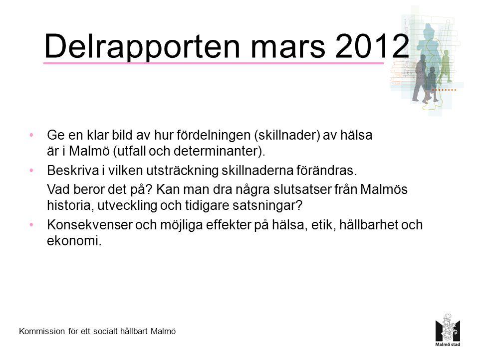 Delrapporten mars 2012 Ge en klar bild av hur fördelningen (skillnader) av hälsa är i Malmö (utfall och determinanter).