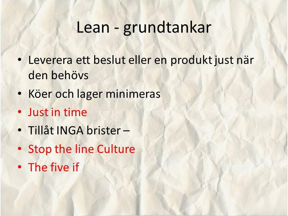 Lean - grundtankar Leverera ett beslut eller en produkt just när den behövs. Köer och lager minimeras.