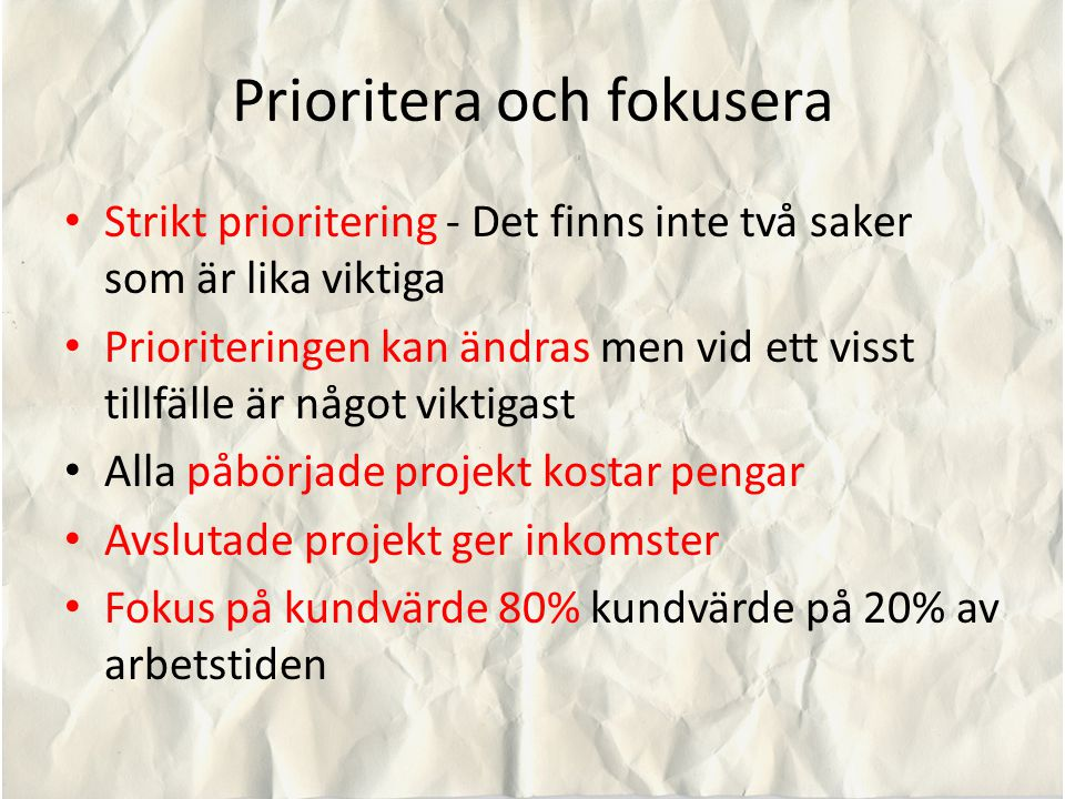 Prioritera och fokusera
