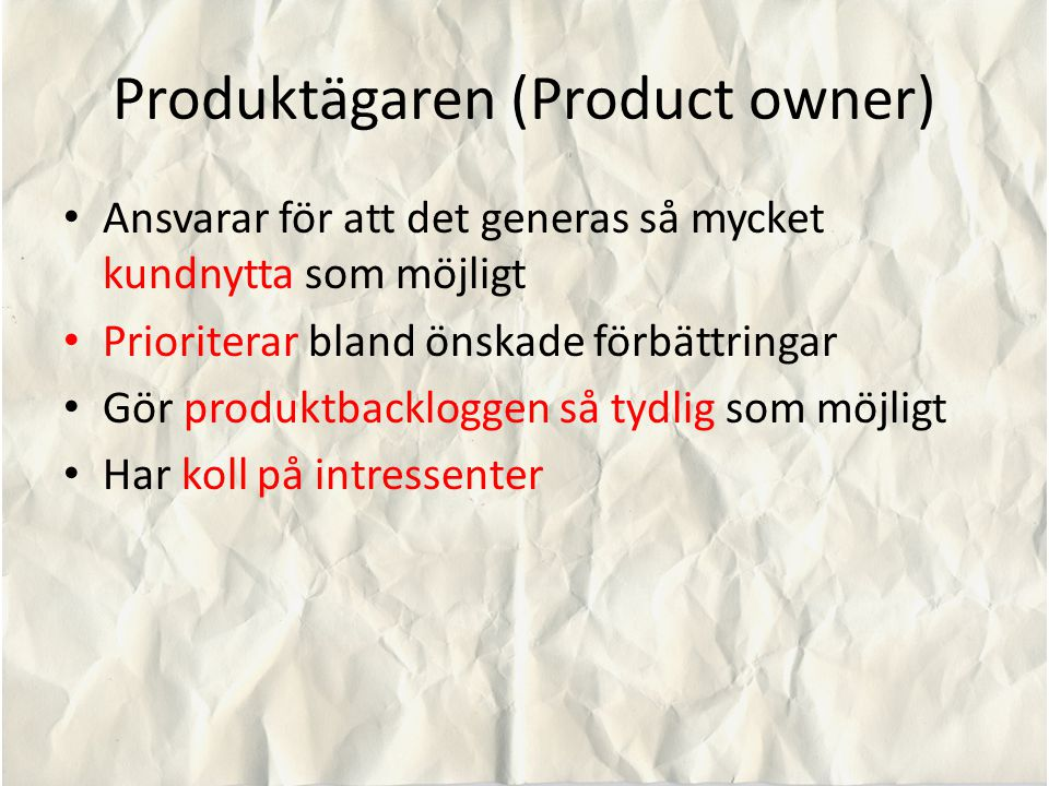 Produktägaren (Product owner)
