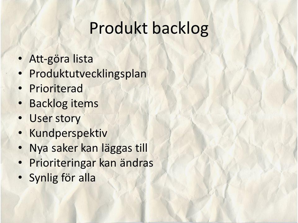 Produkt backlog Att-göra lista Produktutvecklingsplan Prioriterad