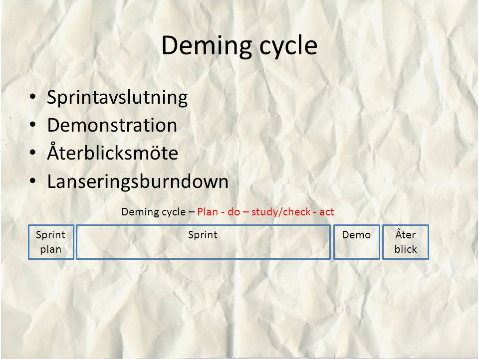 Deming cycle – Plan - do – study/check - act