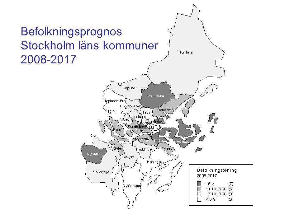 Befolkningsprognos Stockholm läns kommuner 2008-2017