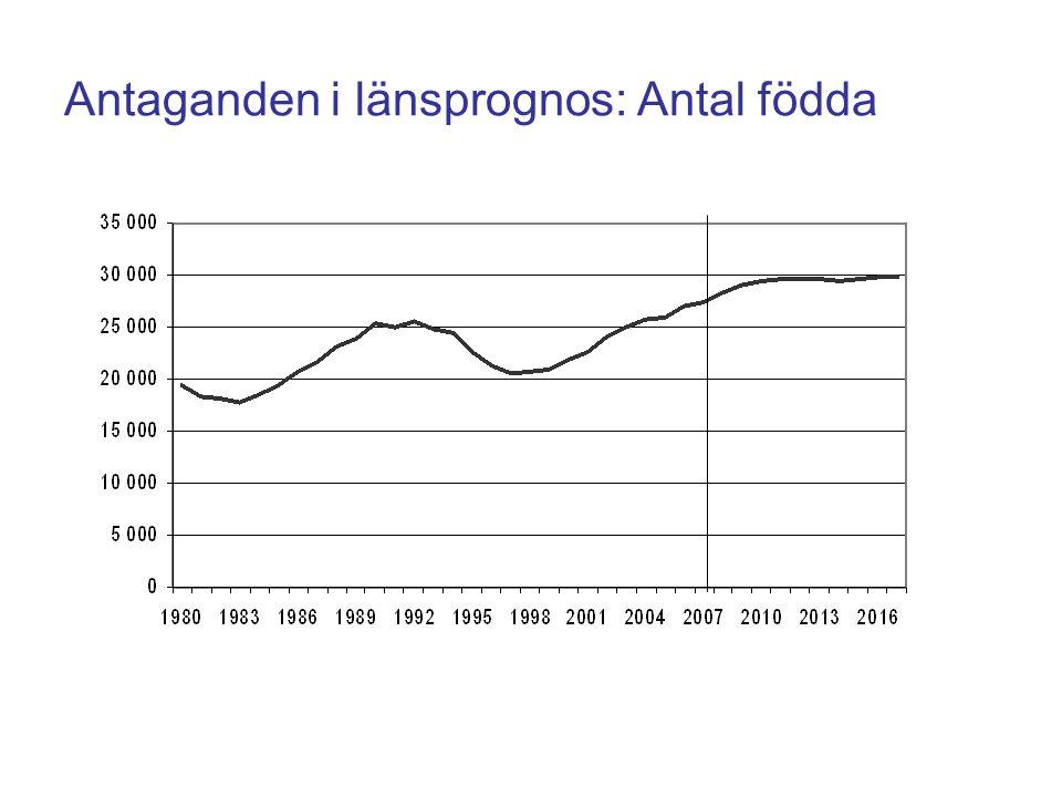 Antaganden i länsprognos: Antal födda