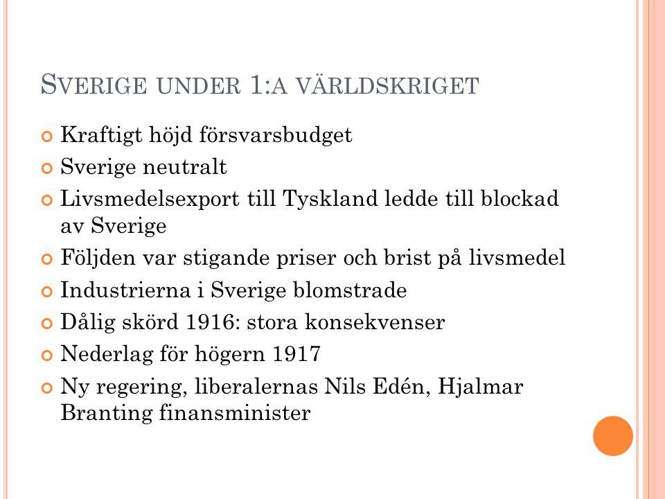 Sverige under 1:a världskriget